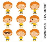 set of little boy with red hair ... | Shutterstock .eps vector #1127280509