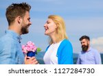 new love. ex partner watching... | Shutterstock . vector #1127284730