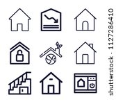 set of 9 house outline icons...   Shutterstock .eps vector #1127286410