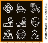 set of 9 people outline icons... | Shutterstock .eps vector #1127286413