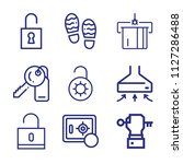 set of 9 security outline icons ... | Shutterstock .eps vector #1127286488