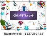 flat chemistry laboratory... | Shutterstock .eps vector #1127291483