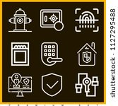 set of 9 security outline icons ... | Shutterstock .eps vector #1127295488
