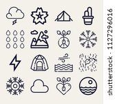 set of 16 nature outline icons... | Shutterstock .eps vector #1127296016