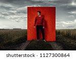 vogue shot. handsome male model ...   Shutterstock . vector #1127300864