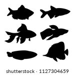 aquarium fish silhouette set.... | Shutterstock .eps vector #1127304659