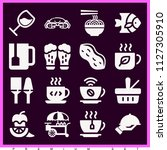 set of 16 food filled icons... | Shutterstock .eps vector #1127305910