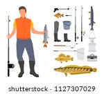 fisherman with tackle and big... | Shutterstock .eps vector #1127307029