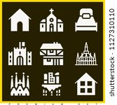 set of 9 buildings filled icons ... | Shutterstock .eps vector #1127310110