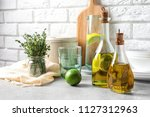 fresh olive oil and kitchen... | Shutterstock . vector #1127312963