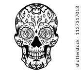 sugar skull isolated on white...   Shutterstock .eps vector #1127317013