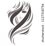 women long hair style icon ... | Shutterstock .eps vector #1127318756