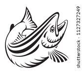 graphic salmon fish   vector   Shutterstock .eps vector #1127327249