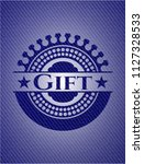 gift badge with denim texture   Shutterstock .eps vector #1127328533