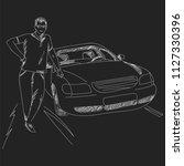 a man standing near the car.... | Shutterstock .eps vector #1127330396