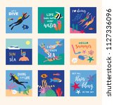 diving card collection. cute...   Shutterstock .eps vector #1127336096