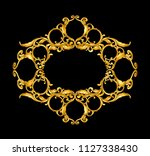 gold baroque frame scroll hand... | Shutterstock .eps vector #1127338430