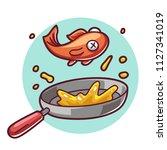 fry fish on pan | Shutterstock .eps vector #1127341019