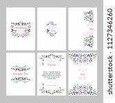 set of cards with floral design ... | Shutterstock .eps vector #1127346260