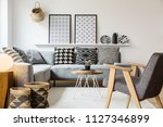 real photo of a small table... | Shutterstock . vector #1127346899