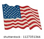 waving american flag.grunge... | Shutterstock .eps vector #1127351366