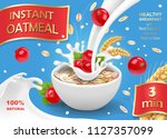 oatmeal flakes with milk and... | Shutterstock .eps vector #1127357099