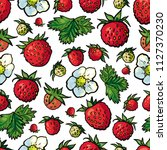 sketch wild strawberry seamless ... | Shutterstock .eps vector #1127370230