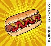hot dog sausage ketchup mustard....   Shutterstock .eps vector #1127378120