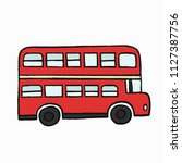 red double decker london bus... | Shutterstock .eps vector #1127387756