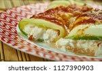 zucchini ricotta manicotti  ... | Shutterstock . vector #1127390903