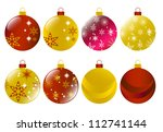 set of red and gold christmas... | Shutterstock .eps vector #112741144