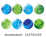 Set Of Blue And Green Christma...