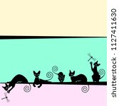 Stock vector color frames with black cats vector illustration 1127411630