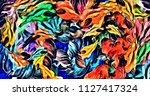 abstract psychedelic background ... | Shutterstock . vector #1127417324