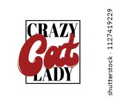 crazy cat lady. vector... | Shutterstock .eps vector #1127419229