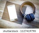 top view blank screen phone... | Shutterstock . vector #1127419790