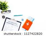 planning vacation. visa... | Shutterstock . vector #1127422820