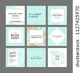 9 square layout templates for... | Shutterstock .eps vector #1127425970