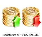 golden bitcoin coins | Shutterstock .eps vector #1127426333