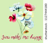 template for greeting card with ... | Shutterstock . vector #1127444180