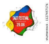 jazz festival poster on 3d...   Shutterstock .eps vector #1127457176