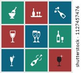 wineglass icon. collection of 9 ... | Shutterstock .eps vector #1127457476