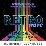 80's retro alphabet font.... | Shutterstock .eps vector #1127457836