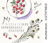 july 2018 calendar with ink... | Shutterstock .eps vector #1127474813