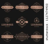 luxury logos templates set ... | Shutterstock .eps vector #1127474903