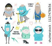 set of cute funny different... | Shutterstock .eps vector #1127478656