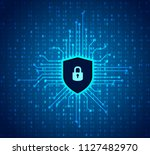 cyber security icon. shield... | Shutterstock .eps vector #1127482970