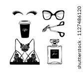 hand drawn fashion illustration.... | Shutterstock .eps vector #1127486120