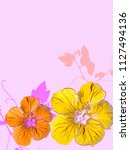 tropical floral background | Shutterstock . vector #1127494136