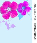 tropical floral background | Shutterstock . vector #1127494709